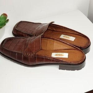 Talbots Italy Faux Croc Leather Mules 8 Wide